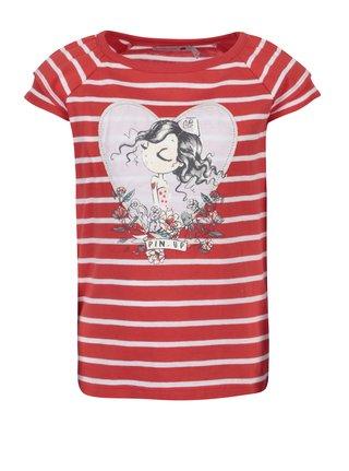 Bielo-červené pruhované dievčenské tričko s potlačou Bóboli