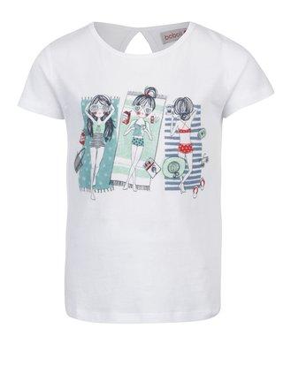 Biele dievčenské tričko s trblietavou potlačou Bóboli