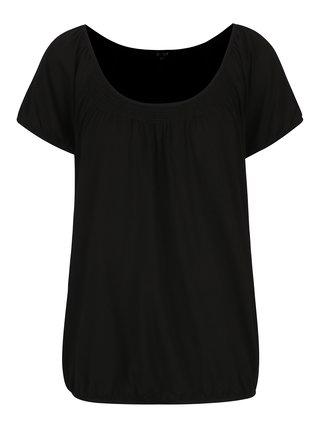 Tricou negru cu insertie elastica in zona decolteului - Yest