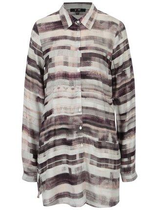 Krémovo- hnědá dlouhá vzorovaná košile Yest