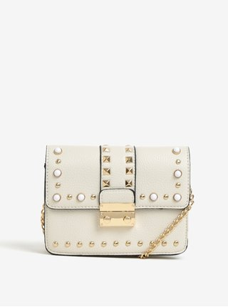 Krémová crossbody kabelka s detailmi v zlatej farbe Miss Selfridge