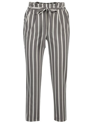 Pantaloni gri&crem in dungi Miss Selfridge