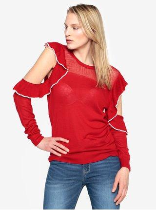 Červený svetr s průstřihy na ramenou a volánky French Connection Lois