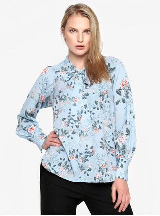 Bluza albastra cu print floral si funda - French Connection Kioa
