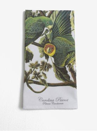 Biela kuchynská utierka s motívom papagájov Magpie Parrot