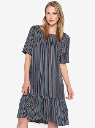 Tmavě modré pruhované šaty s volánem Selected Femme Elisa 37aea502d0