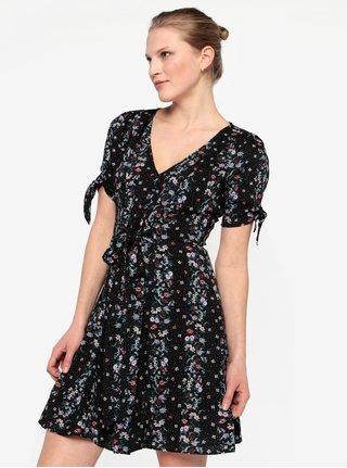 Rochie mini neagra cu print floral Miss Selfridge