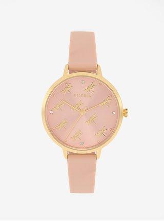 Pozlátené hodinky s telovým silikónovým remienkom Pilgrim Babette