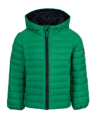 Zelená chlapčenská prešívaná bunda s kapucňou Tom Joule Cairn