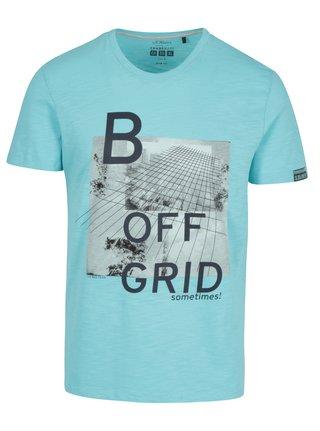 Tyrkysové pánske slim fit tričko s potlačou s.Oliver