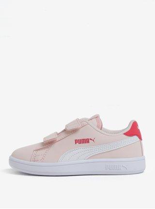Ružové dievčenské tenisky na suchý zips Puma Smash
