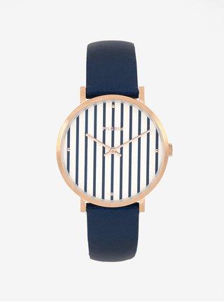 Pozlátené hodinky s tmavomodrým koženým remienkom Pilgrim Billie