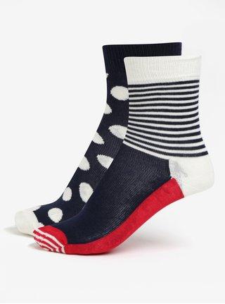 Červeno-modré detské ponožky s bodkami a pruhmi Happy Socks Big Dot