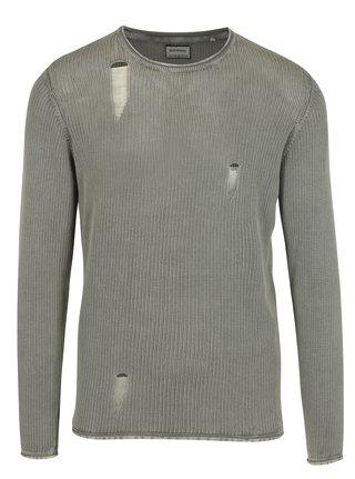 Pulover bej tricotat cu aspect deteriorat -  Shine Original