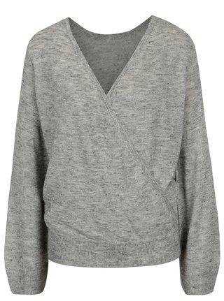 Sivý melírovaný sveter s prekladaným výstrihom ONLY Elani