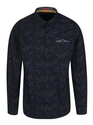 Tmavomodrá pánska vzorovaná slim fit košeľa s.Oliver