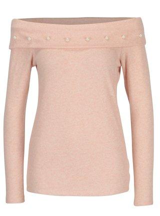 Světle růžový žíhaný svetr s odhalenými rameny Dorothy Perkins