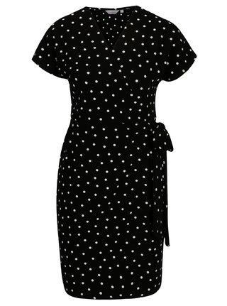 Rochie neagra cu print buline si decolteu suprapus - Dorothy Perkins Petite