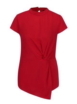 Bluza asimetrica rosie cu nod decorativ  Dorothy Perkins