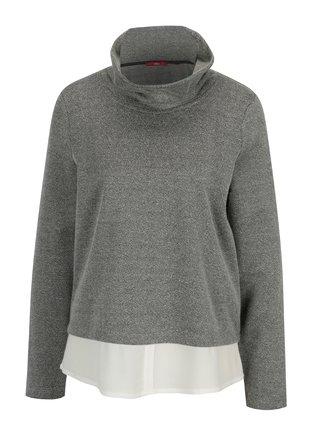 Čierno-biely dámsky tenký sveter so stojačikom a všitou košeľou 2 v 1 s.Oliver