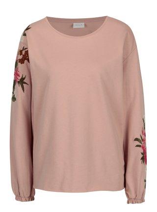Bluza roz prafuit cu broderie florala  VILA Halia