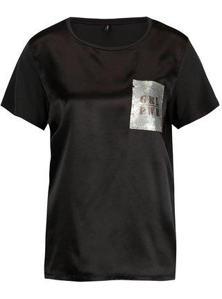 Tricou negru cu aspect lucios si broderie din paiete - ONLY Sally