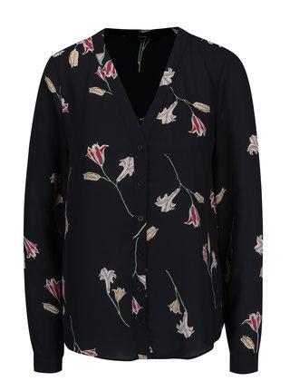 Bluza neagra cu print floral VERO MODA Elena