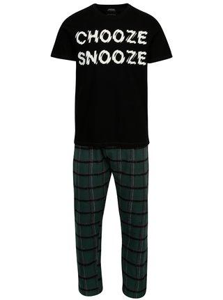 Černo-zelené dvoudílné pyžamo Burton Menswear London