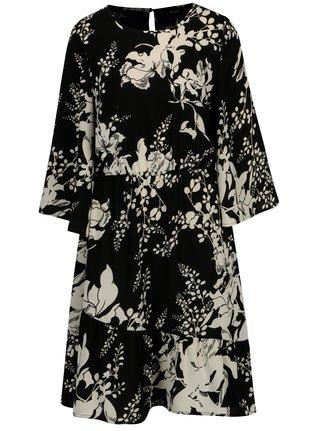 Rochie neagra cu print floral si maneci clopot VERO MODA Kana