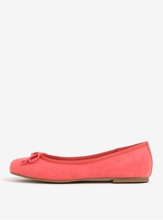3c1d2d5f8330 Růžové baleríny s mašličkou v semišové úpravě Tamaris