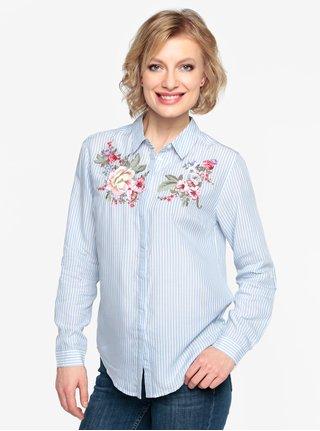Camasa albastra in dungi cu broderie florala  Oasis Chintz