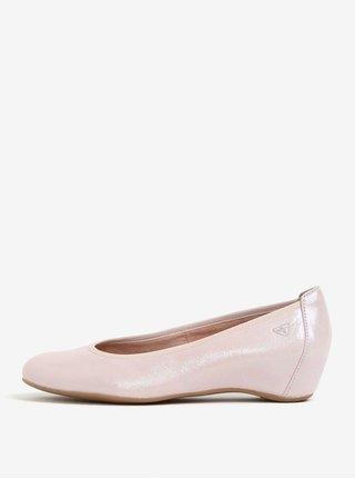 Balerini roz cu talpa wedge ascunsa din piele Tamaris