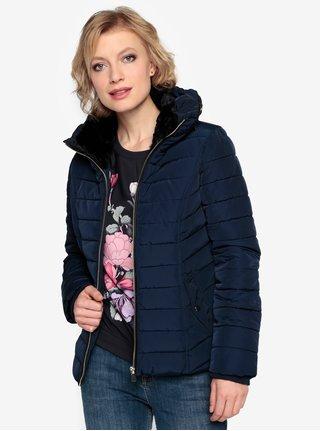 Tmavě modrá zimní prošívaná bunda s vysokým límcem Oasis Natalie