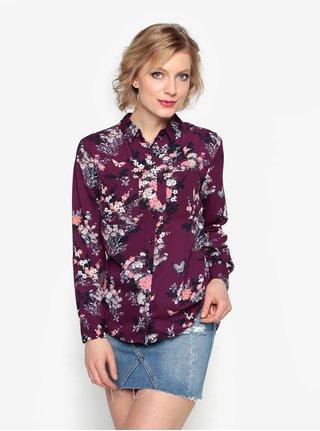 Camasa cu print floral mov inchis si buzunare - Oasis Kimono