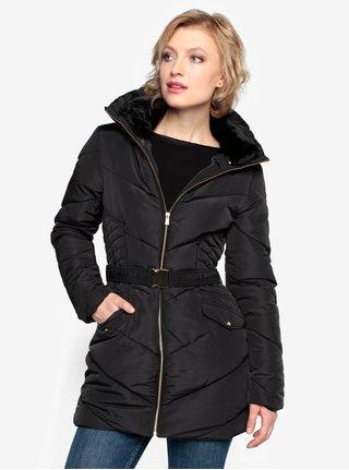 Čierny prešívaný zimný kabát s vysokým golierom Oasis Cairnwell