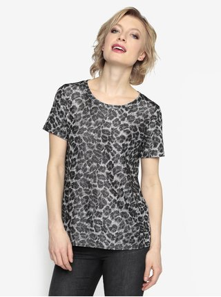Tricou gri cu animal print si aspect stralucitor - Oasis Animal