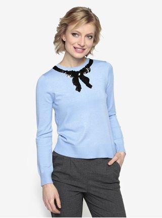 Modrý tenký sveter s mašľou z flitrov Oasis Jackie