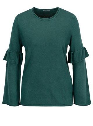 Zelený sveter s volánmi na rukávoch Jacqueline de Yong Stardust