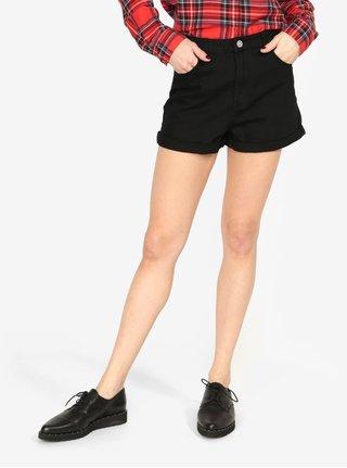 Černé džínové kraťasy s vysokým pasem MISSGUIDED