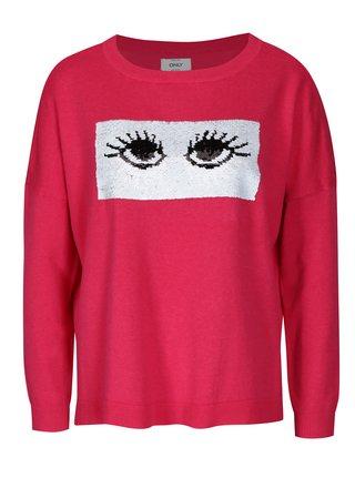 Ružový sveter s magickými flitrami ONLY Rosetta