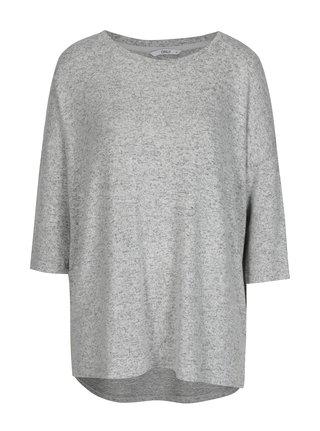 Sivý melírovaný voľný sveter s 3/4 rukávom ONLY New Maye