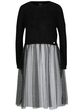 Čierny crop sveter so všitou tylovou časťou ONLY Bianka