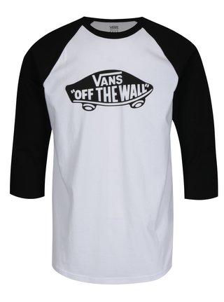 Čierno-biele pánske tričko s potlačou VANS New Raglan