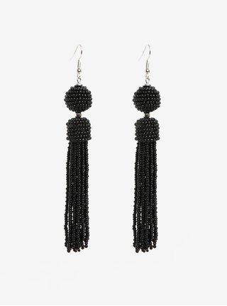 Čierne korálikové náušnice s detailmi v striebornej farbe Pieces Maise