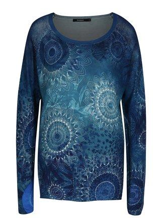Tmavomodrý sveter s potlačou Desigual Spiatum