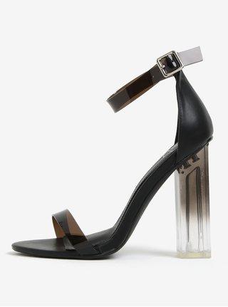 Černé sandálky na vysokém transparetním podpatku MISSGUIDED