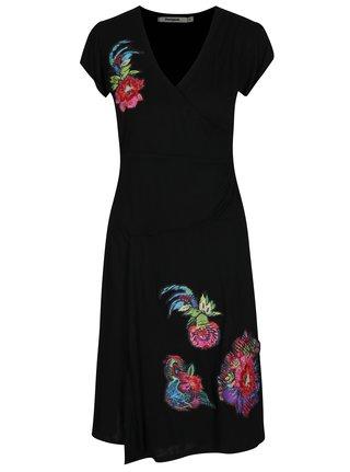 Rochie neagra cu croi suprapus si aplicatii florale Desigual Asha