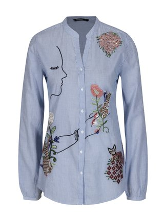 Camasa alba cu dungi si broderie florala - Desigual Baixinha