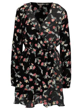 Rochie suprapusa neagra cu print buline si floral Miss Selfridge
