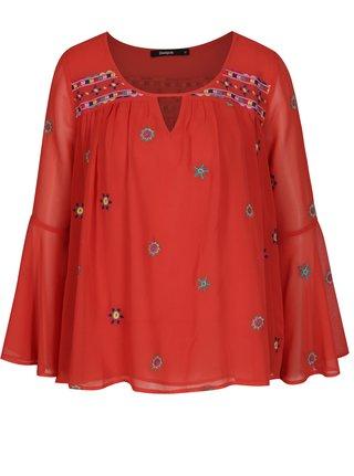 Bluza rosie cu maneci clopot si broderie florala - Desigual Karissa